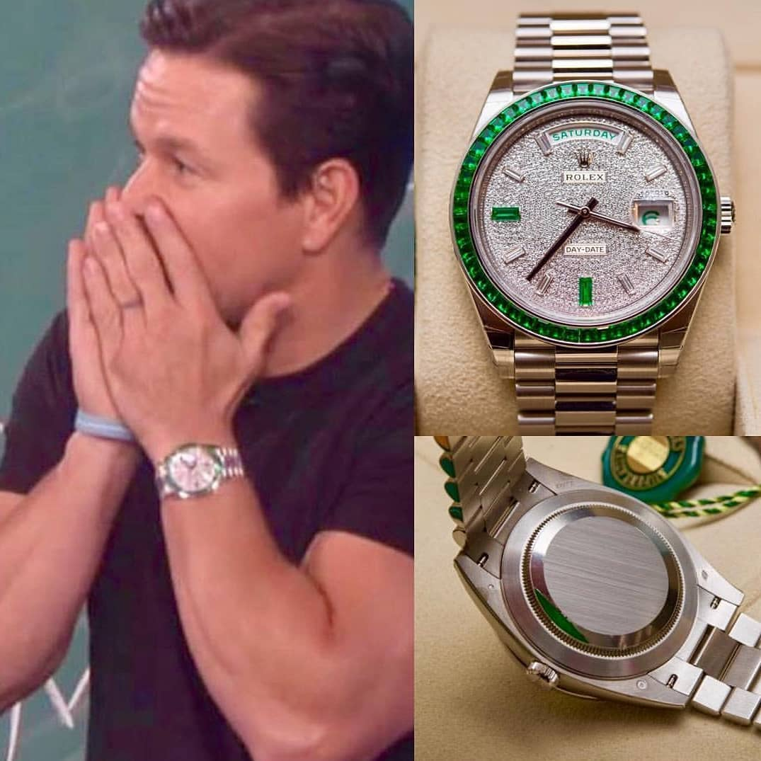 Hollywood kingpin Mark Wahlberg spotted with the extremly rare Rolex Day-Date Platinum Green Emerald Bezel Staggering price of 515,000!!! 📸 @superwatchman