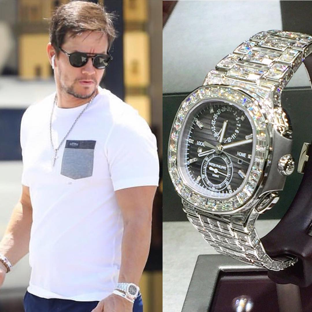Hollywood Kingpin @markwahlberg spotted recently with the amazing diamonds adorned @patekphilippe Travel Time Chronograph ️ 1,500,000.00 📸 @superwatchman