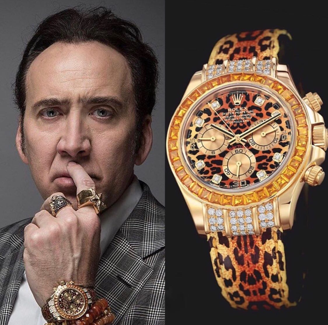 Actor Nicolas Cage wears a special edition Rolex Daytona here, with a Leopard texture diamond dial and a Leopard skin strap 🐆 ️ 70,000 📸 @superwatchman