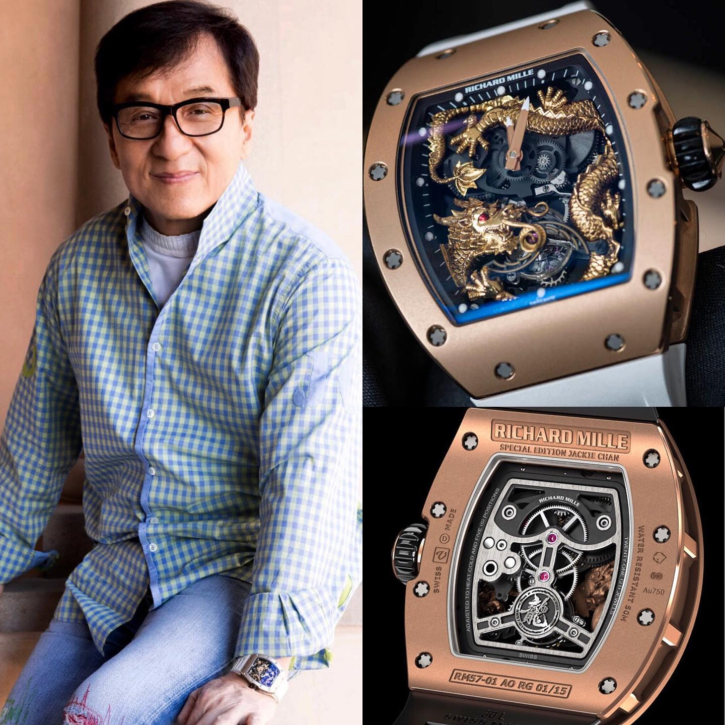 Hong Kong:s actionhero @jackiechan � rocking the Richard Mille RM 057 Tourbillon, a timepiece that pays tribute to the �Year Of The Dragon� lt's imited to 16 pieces and has a pricetag of staggering 742'000 Would you buy it if you had the money � � 📸 @superwatchman
