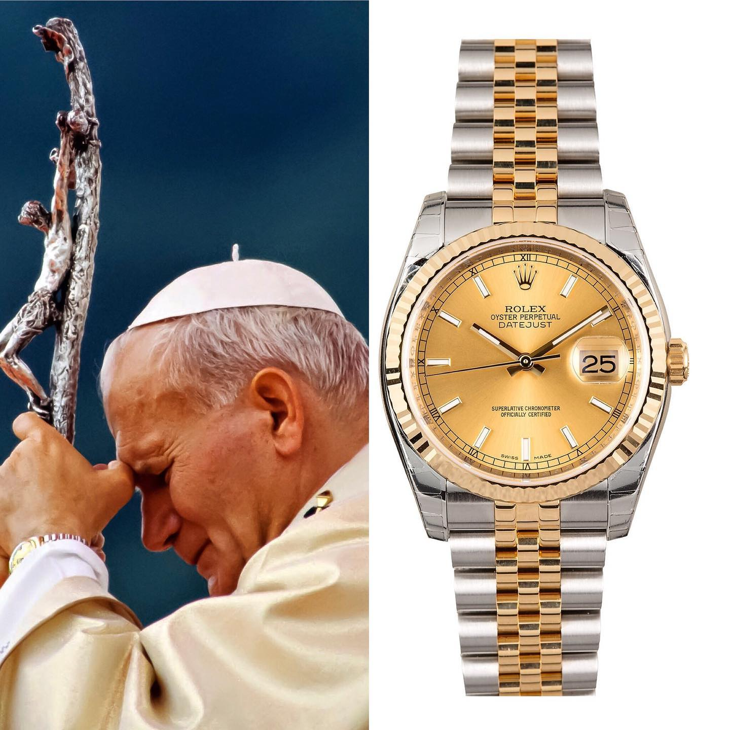 Legendary Pope Johannes Paulus II, known for being shot at close range in an assassination attempt in 1981, was the owner of a 36mm two-tone Rolex Datejust Jubilee Bracelet ref.16233 ️ He died in 2005 due to old age. ️ 6,799.00 📸 @superwatchman