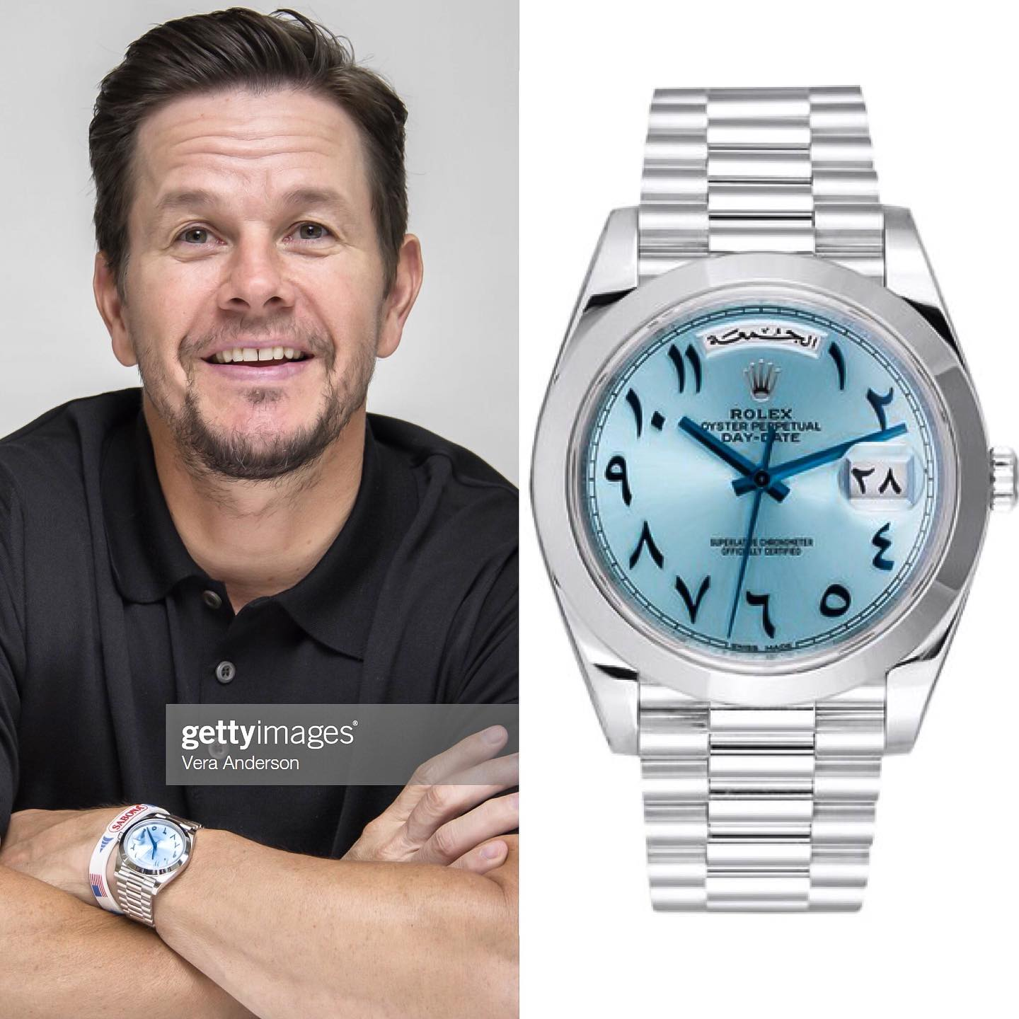 Hollywood entrepreuneur and avid watch collector @markwahlberg is here sporting a rare @rolex Day-Date 40 in Platinum with ice blue Arabic dial ️ ️ 70,000.00 📸 @superwatchman