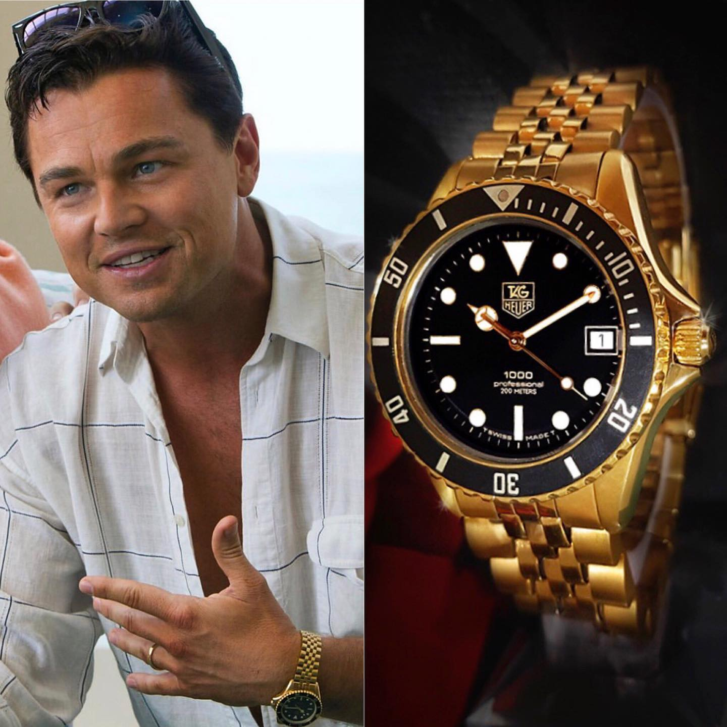 Jordan Belfort (@leonardodicaprio) rocking the 1000 Series 18K @tagheuer in the modern classic Wolf of Wall Street Many mistakenly believe that it's a GMT-Master, but it's not ️ 📸 @superwatchman