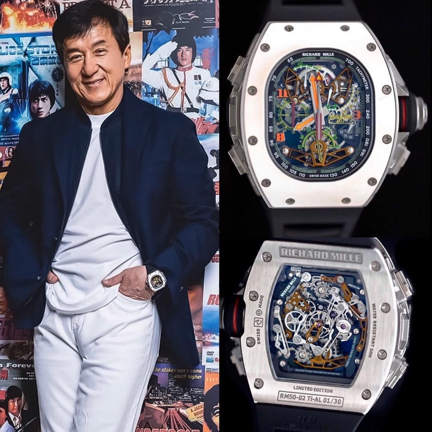 "Worlds best @jackiechan rocking the Unique RM 50-02 ""Airbus"" Tourbillon Split Seconds Chronograph, inspired by a jet, why the name ""Airbus"" 🛩 It's limited to just 30 pieces world wide 🌎 ️ 1,005,000.00 📸 @superwatchman"