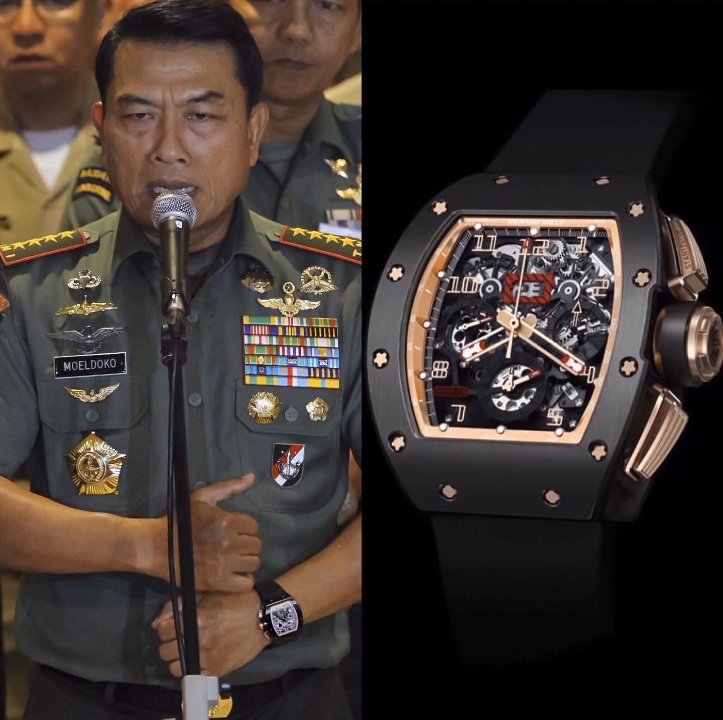 Dr. Moeldoko who is the current Chief of Staff of Indonesian presidency was seen with a Richard Mille RM 011 Felipe Massa Flyback Chronograph BLACK KITE ️ He claims that it's fake though. WELL: IS IT ?? ️ 110,000.00 📸 @superwatchman