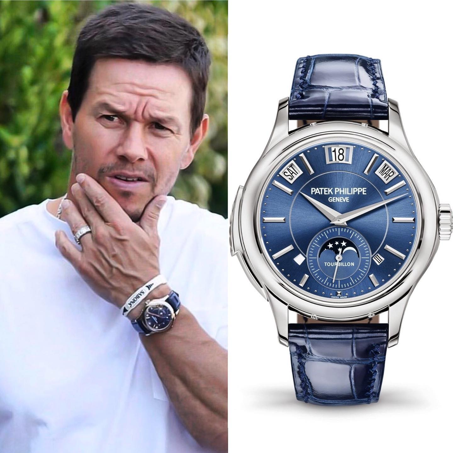 One of Hollywood's greatest stars @markwahlberg 🕺🏻spotted with a rare Patek Philippe 5207G-001 Tourbillon Perpetual Calendar in white gold with a blue dial. His watch collection is indeed outstanding! ️ 1,000,000.00 📸 @superwatchman