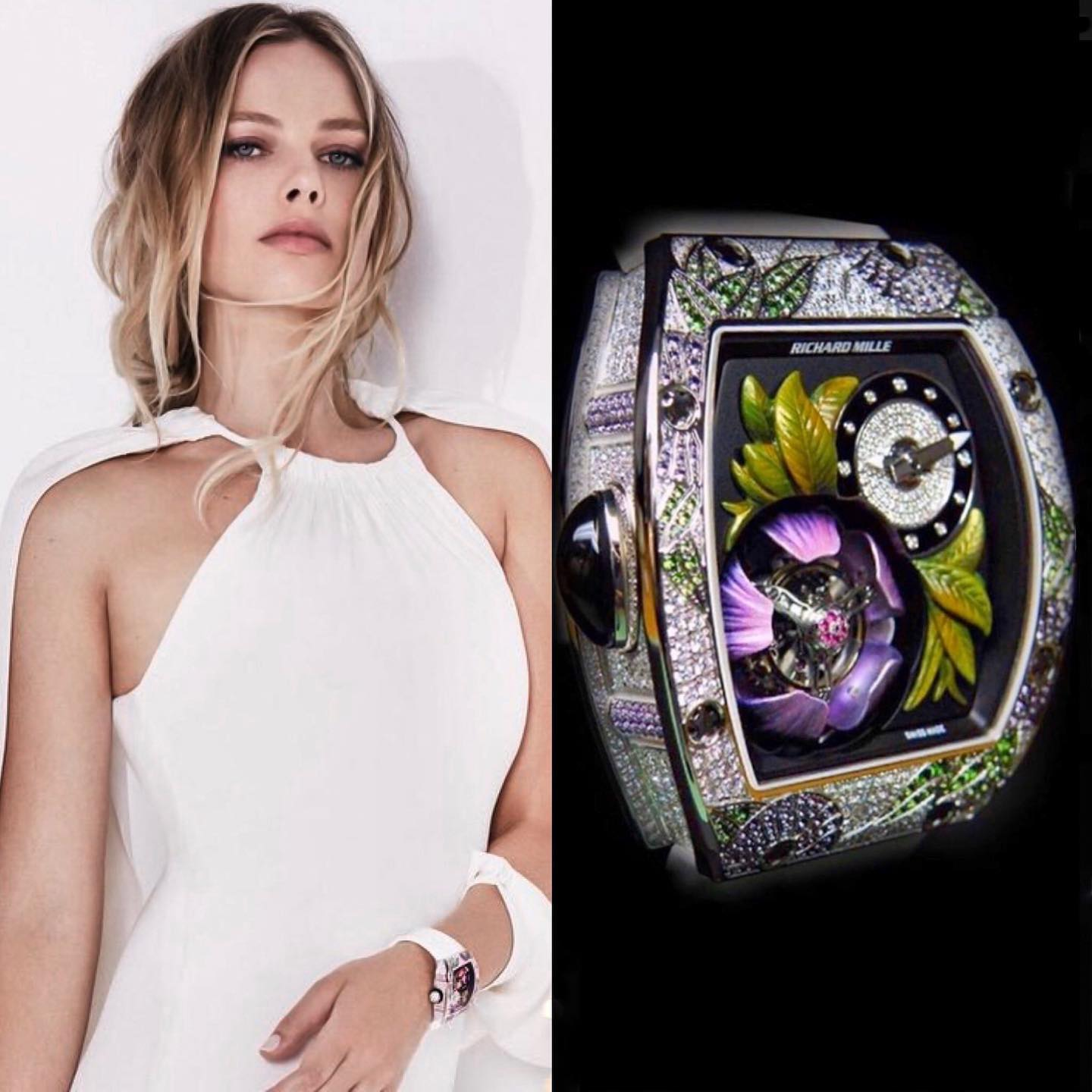 """Australian actress & """"Wolf Of Wall Street"""" star @margotrobbie here wearing the delicate1,300,000.00 white gold Richard Mille RM 19-02 Tourbillon Fleur . This watch is limited to 30 pieces World wide 🌍 ️ 📸 @superwatchman"""
