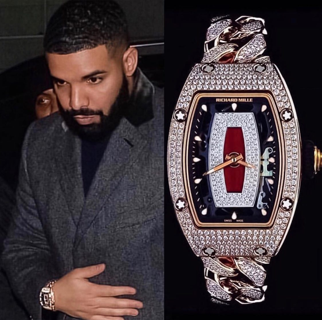 """Canadian rapper and entrepreuneur Aubrey Drake Graham """"@champagnepapi"""" 🍾🎙 spotted with a ladies Richard Mille RM 07-01 18k Rose Gold ️ 300,000.00 📸 @superwatchman"""