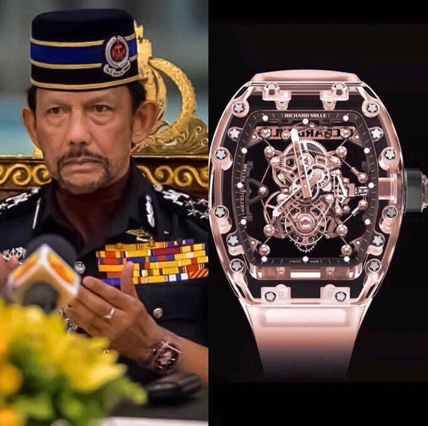 The Sultan of Brunei Hassanal Bolkiah was recently spotted with the masterpiece Pink Sapphire piece unique Richard Mille RM56-02. This watch is a special work by the Swiss watch maker and priceless.