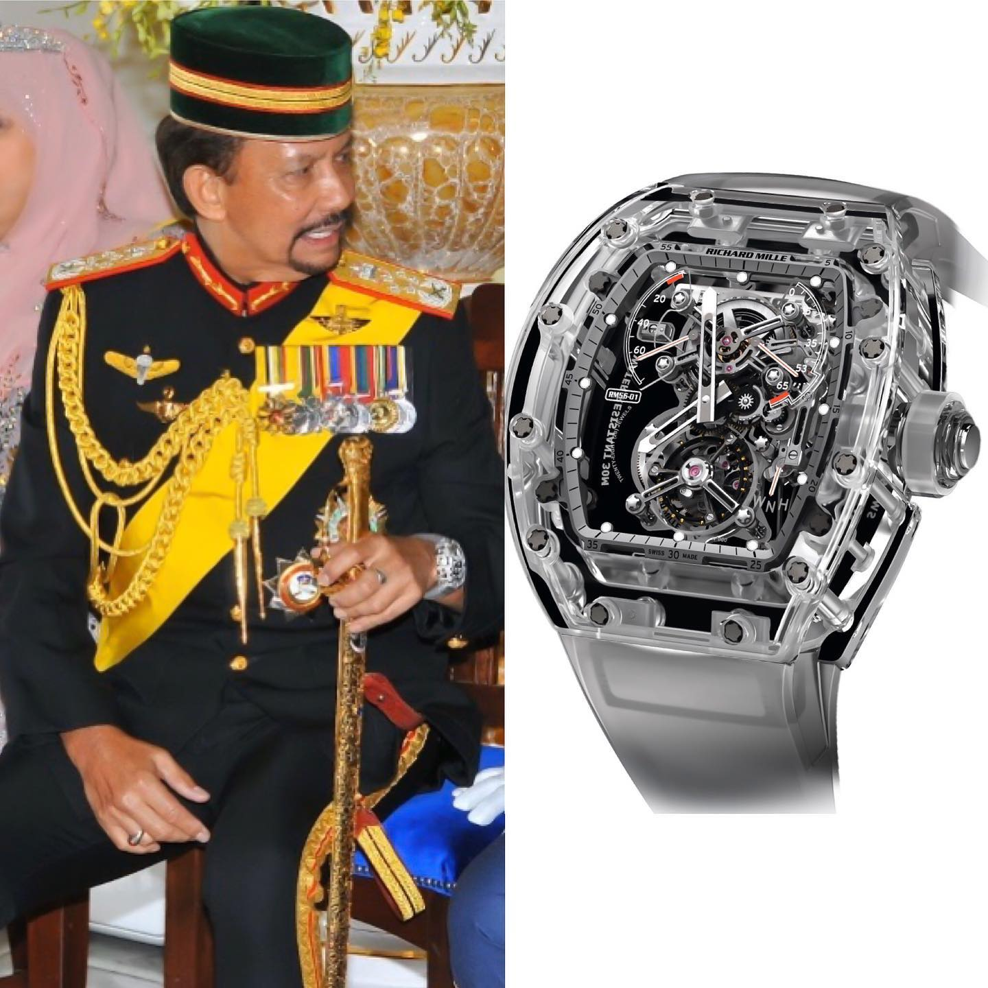 The Sultan of Brunei Hassanal Bolkiah spotted wearing one of only five existing Richard Mille RM 56-01 Tourbillon Sapphire , with the crazy price tag of 2,000,000.00 � 📸 @superwatchman