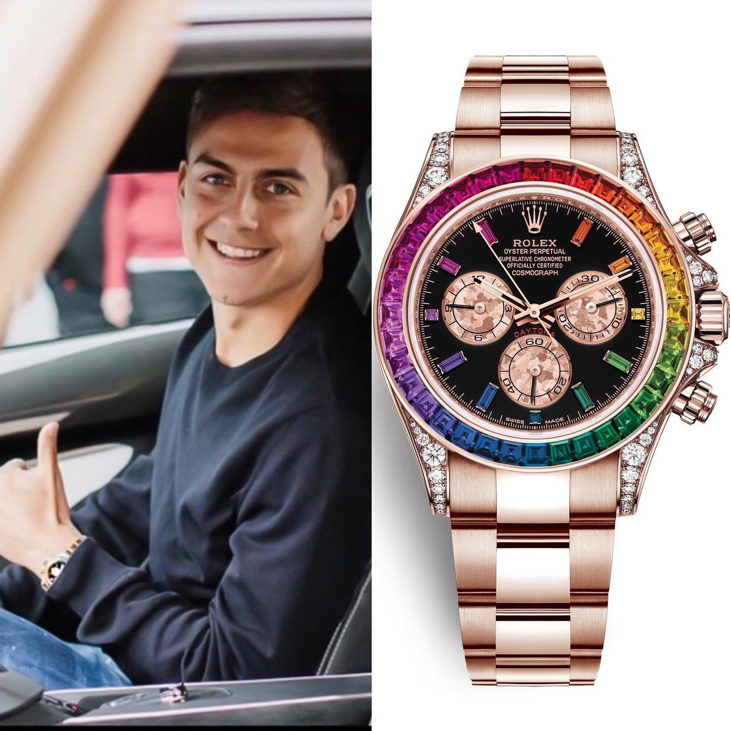 """Argentinian International and Juventus forward Paulo Bruno Exequiel Dybala @paulodybala , was spotted with a """"Rainbow"""" @rolex Cosmograph Daytona in 18ct Everose gold with 36 Baguette-Cut Sapphires In Rainbow Graduation Bezel � 250,000.00 📸 @superwatchman/ @italianwatchspotter"""