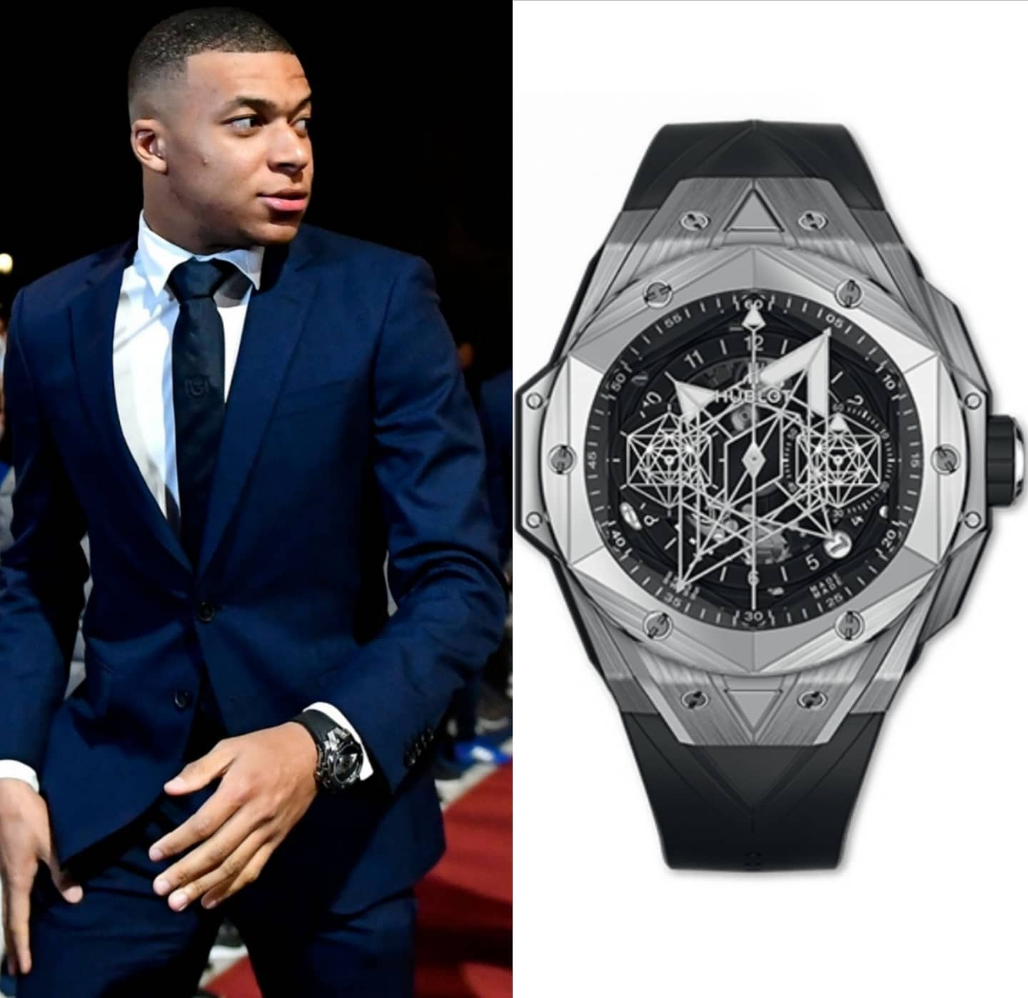 French International and @psg player Kylian Mbappé @k.mbappe, considered one of the best players in the world, spotted with a Titanium @hublot Big Bang Sang Bleu II, limited to 200 pieces world wide 🌎 � 24,000.00 📸