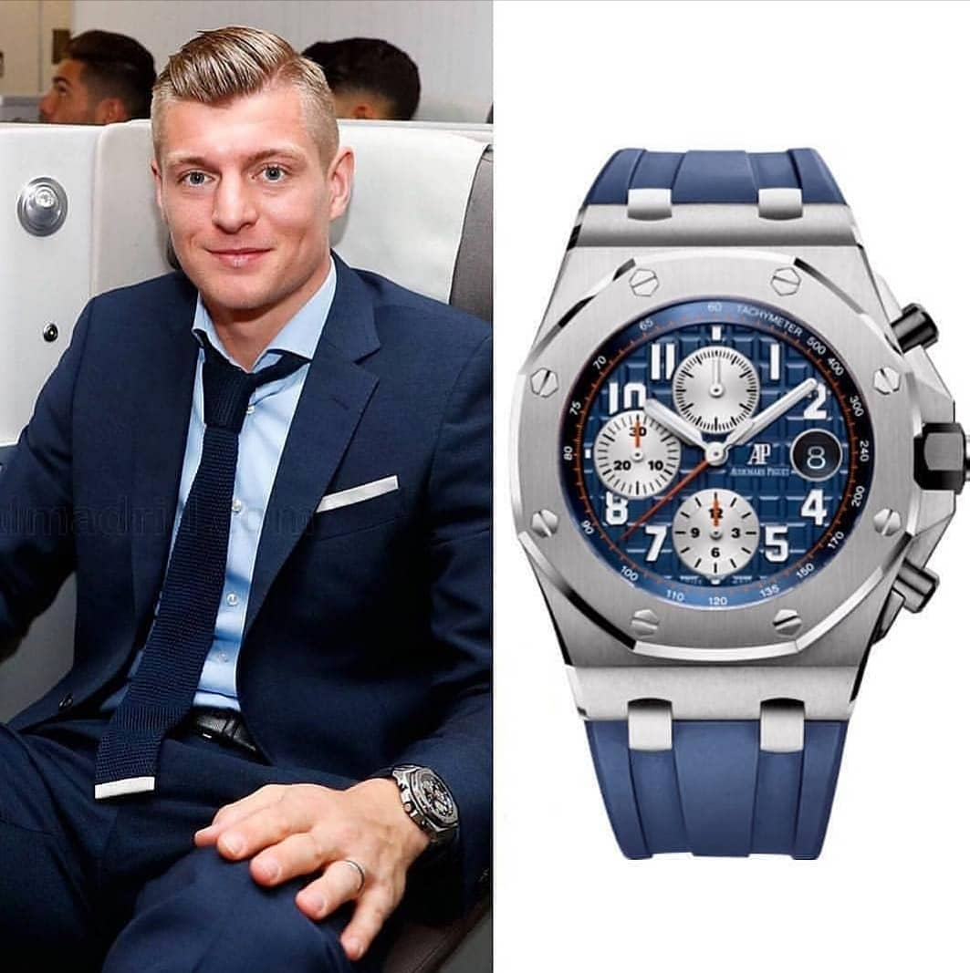 The German International and Real Madrid player @toni.kr8s ��♂� spotted with an Audemars Piguet Royal Oak Offshore Chronograph 42mm with the price tag of 37,600.00 � � 📸 @superwatchman
