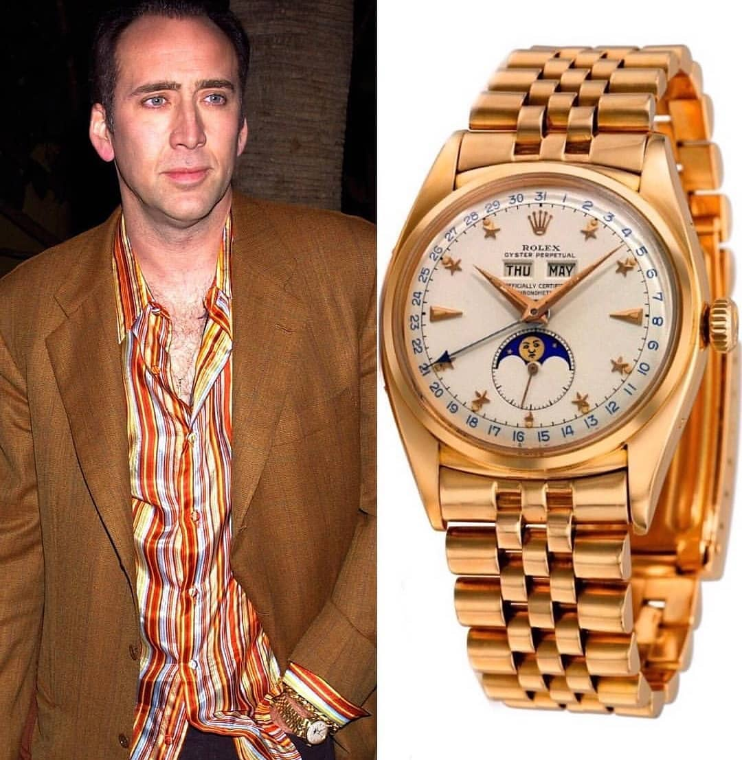 Once upon a time actor Nicolas Cage was the owner of this fantastic vintage Rolex Moonphase 6062 with Triple Calendar and Star Dial ️ ️ 650,000.00 🌐 📸 @superwatchman