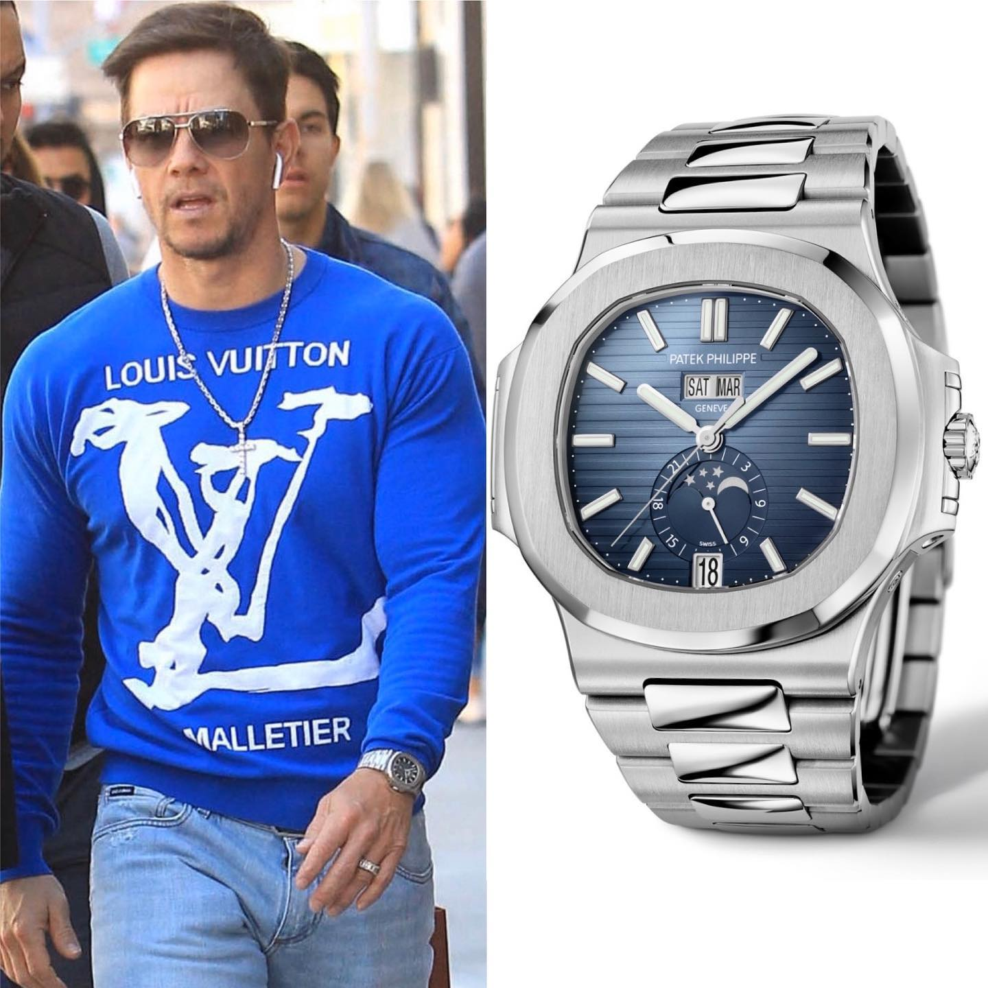 Hollywoods Golden Boy & HUGE watch collector @markwahlberg was recently spotted with one of the hottest newcomers in 2019: The @patekphilippe Nautilus Annual Calendar Gradient Blue ref. 5726-1A-014 ️ 45,600.00 🌐 📸 @superwatchman