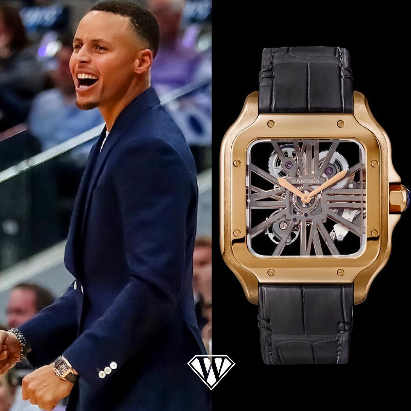 The American basketball star Stephen Curry, who plays for the NBA team Golden State Warriors, is sporting an 18k rose gold Santos de Skeleton. Curry is regarded by many to be the greatest shooter in NBA history. Retail price: $63,500.00 dollars Reference: WHSA0008