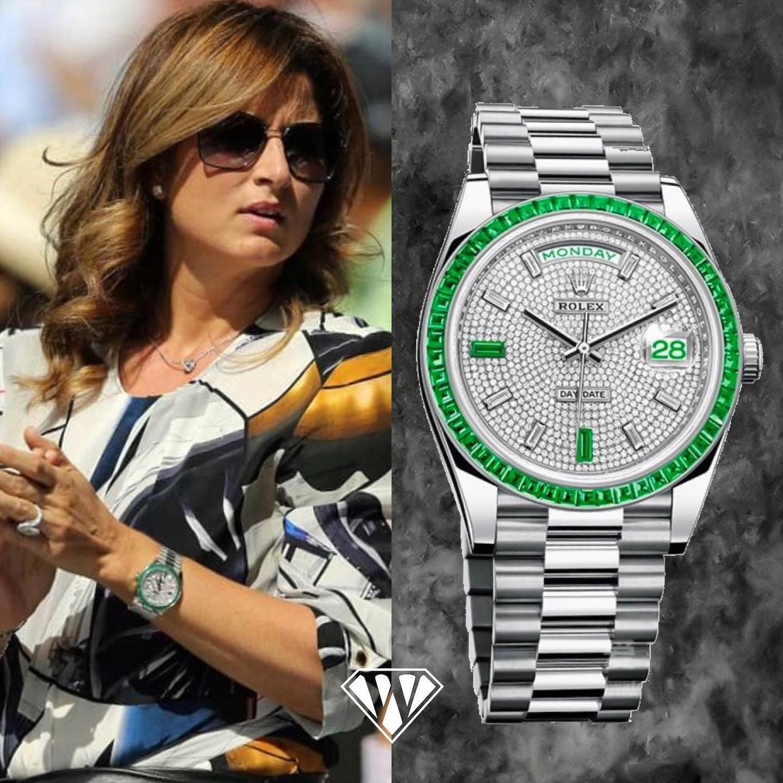 Mirka Federer Emerald Rolex Day Date Platinum | Superwatchman.com