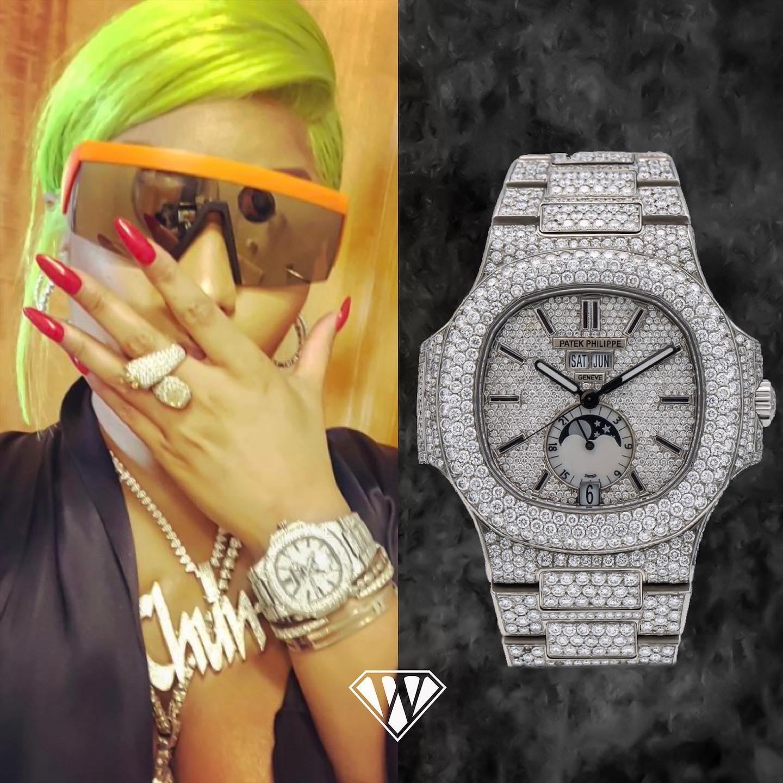 Nicki Minaj Iced Out Patek Philippe Nautilus Annual Calendar