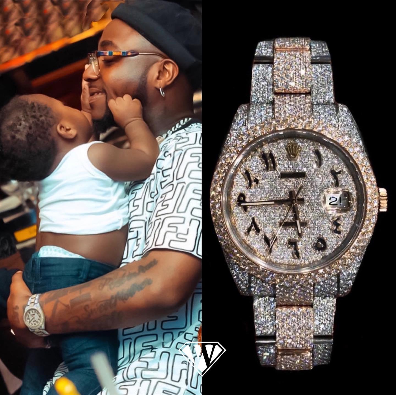 Davido Full Diamond Rolex Datejust Watch