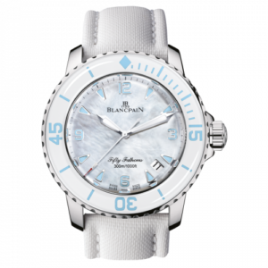 Fifty Fathoms Automatique Stainless Steel / White Mother Of Pearl / White Canvas