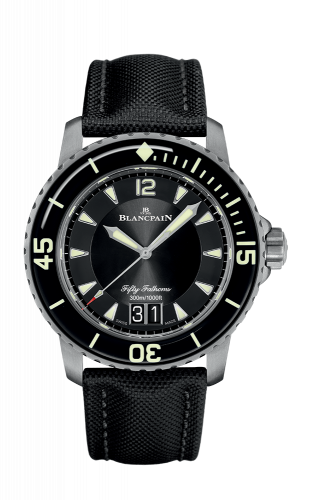 Fifty Fathoms Automatique Grande Date Titanium / Black / Black Canvas