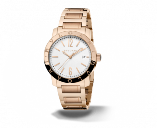 Bulgari Solotempo 39 Pink Gold Silver Bracelet
