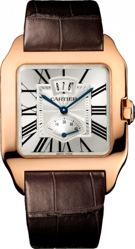 Santos Dumont 38 Date / Power Reserve Pink Gold / Silver