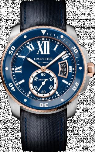 Calibre de Cartier Diver Stainless Steel / Pink Gold / Blue / Rubber
