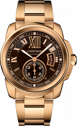 Calibre de Cartier 42 Pink Gold / Chocolate / Bracelet