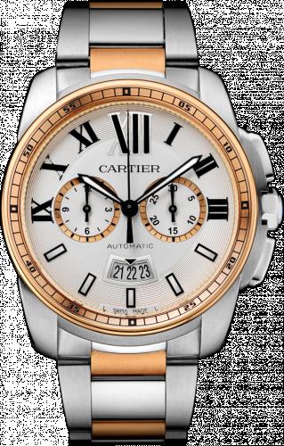 Calibre de Cartier Chronograph Stainless Steel / Pink Gold / Silver / Bracelet