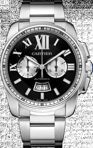 Calibre de Cartier Chronograph Stainless Steel / Black / Bracelet