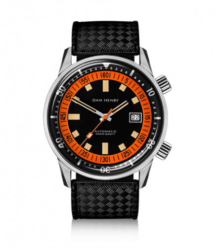 Dan Henry 1970 Automatic Diver 44 Black-Orange / Stainless Steel