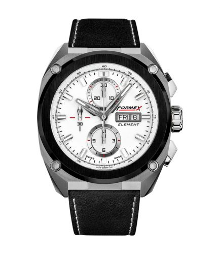 Element Automatic Chronograph Ceramic Bezel / White / Calf