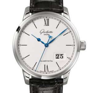 Senator Excellence Panorama Date Stainless Steel / Silver / Alligator /  Folding