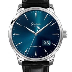 Senator Excellence Panorama Date Stainless Steel / Blue / Alligator / Pin