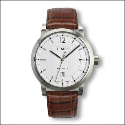 Chyros Automatic - Silvered / brown leather strap (Croco)
