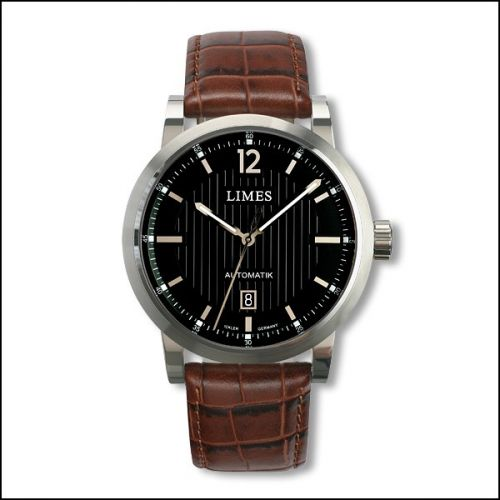 Chyros Automatic - Black / brown leather strap (Croco)
