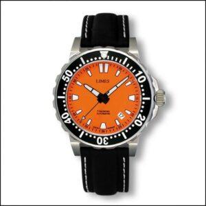 1Tausend Automatic Orange - Leather strap