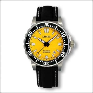 1Tausend Automatic Yellow - Leather strap