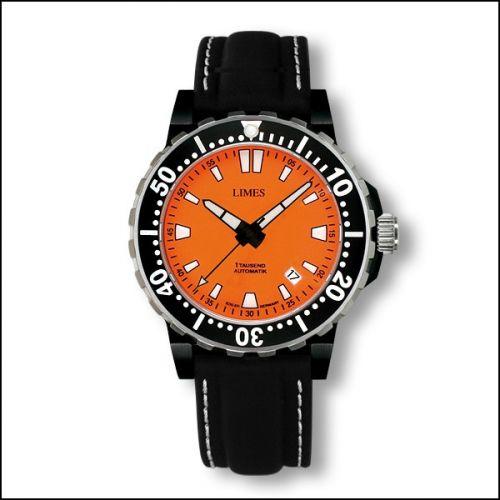 1Tausend Automatic PVD Orange - Leather strap