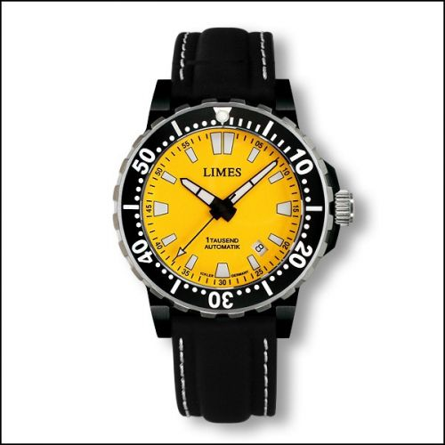 1Tausend Automatic PVD Yellow - Leather strap