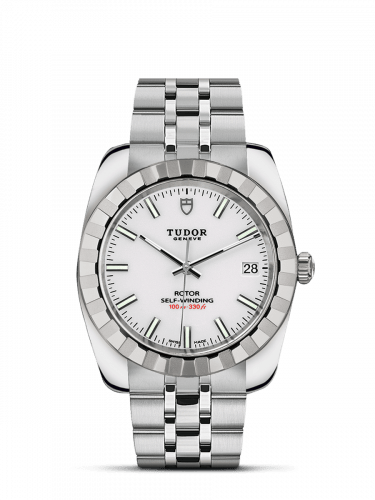 Classic 38 Stainless Steel / Fluted / White / Bracelet