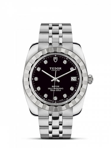Classic 38 Stainless Steel / Fluted / Black-Diamond / Bracelet