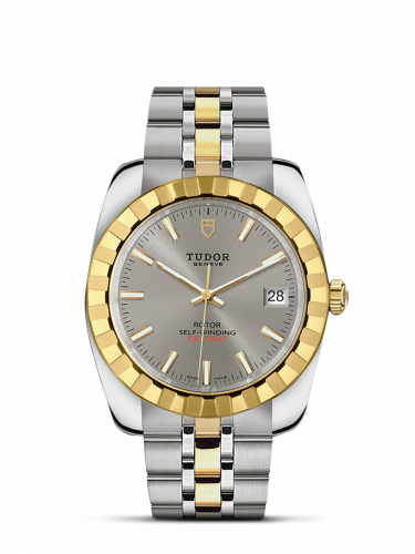 Classic 38 Stainless Steel / Yellow Gold / Fluted / Silver / Bracelet