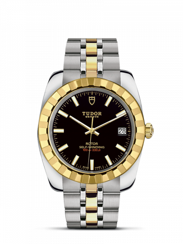 Classic 38 Stainless Steel / Yellow Gold / Fluted / Black / Bracelet