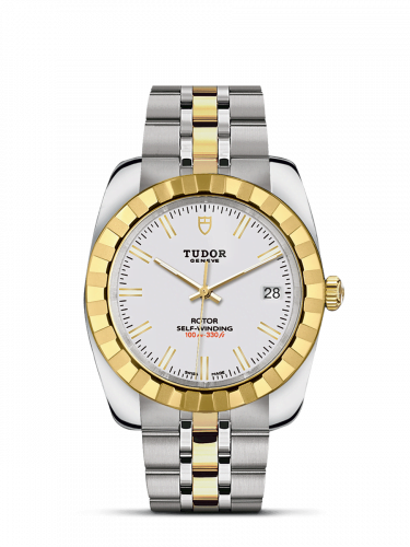 Classic 38 Stainless Steel / Yellow Gold / Fluted / White / Bracelet
