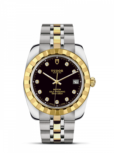 Classic 38 Stainless Steel / Yellow Gold / Fluted / Black-Diamond / Bracelet