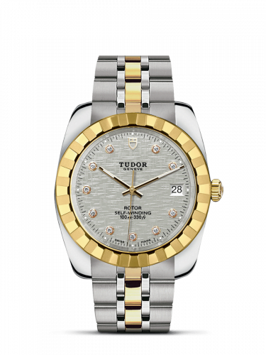 Classic 38 Stainless Steel / Yellow Gold / Fluted / Silver-Diamond / Bracelet