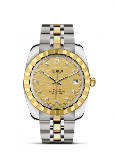 Classic 38 Stainless Steel / Yellow Gold / Fluted / Champagne-Diamond / Bracelet