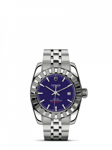 Classic 28 Stainless Steel / Fluted / Blue / Bracelet